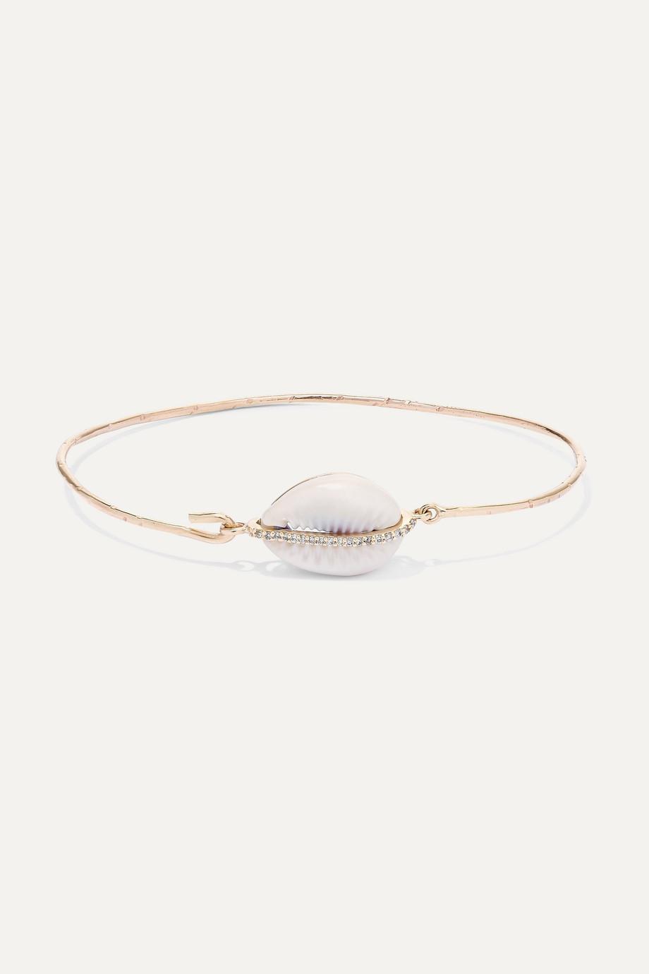 Pascale Monvoisin Bracelet en or 9 carats, porcelaine et diamants Cauri
