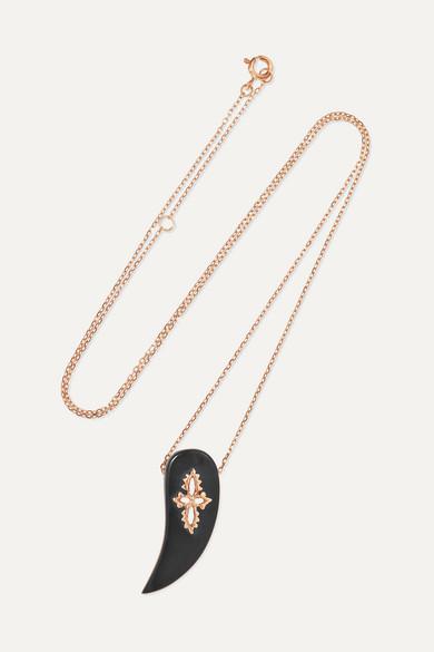 PASCALE MONVOISIN Sunday Tusk 14-Karat Rose Gold Bakelite Necklace
