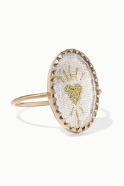 Pascale Monvoisin Blossom N°3 9-karat gold, cotton and glass ring