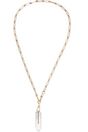 Moon 9-karat gold, diamond and crystal necklace