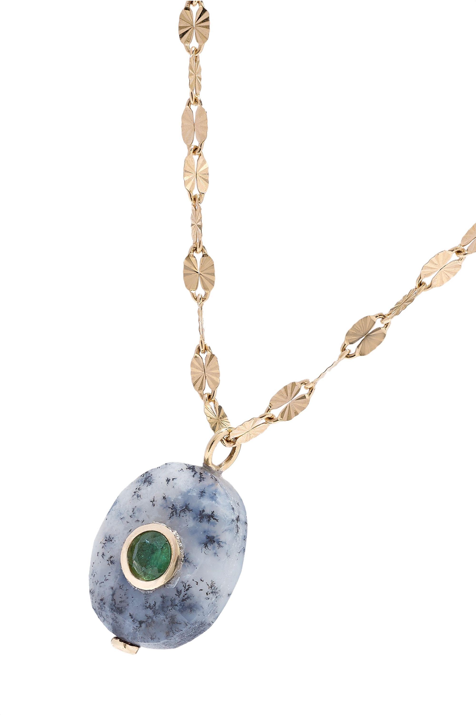 Pascale Monvoisin Holi 14-karat gold, agate and emerald necklace