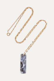 Marcel 9-karat gold agate necklace
