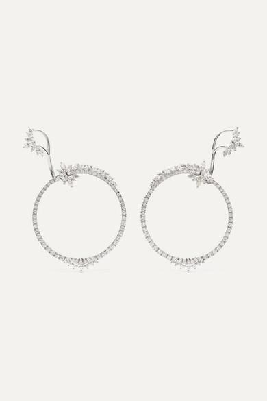 YEPREM 18-Karat White Gold Diamond Hoop Earrings