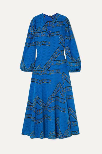 Cloverdale Printed Silk Crepe De Chine Maxi Dress in Cobalt Blue
