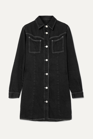 Contrast Stitch Soft Denim Mini Shirtdress in Black