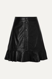Rhinehart ruffled leather mini skirt