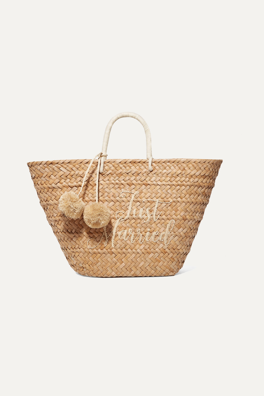 Kayu St Tropez pompom-embellished embroidered woven straw tote