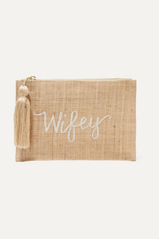 Wifey embroidered woven straw pouch