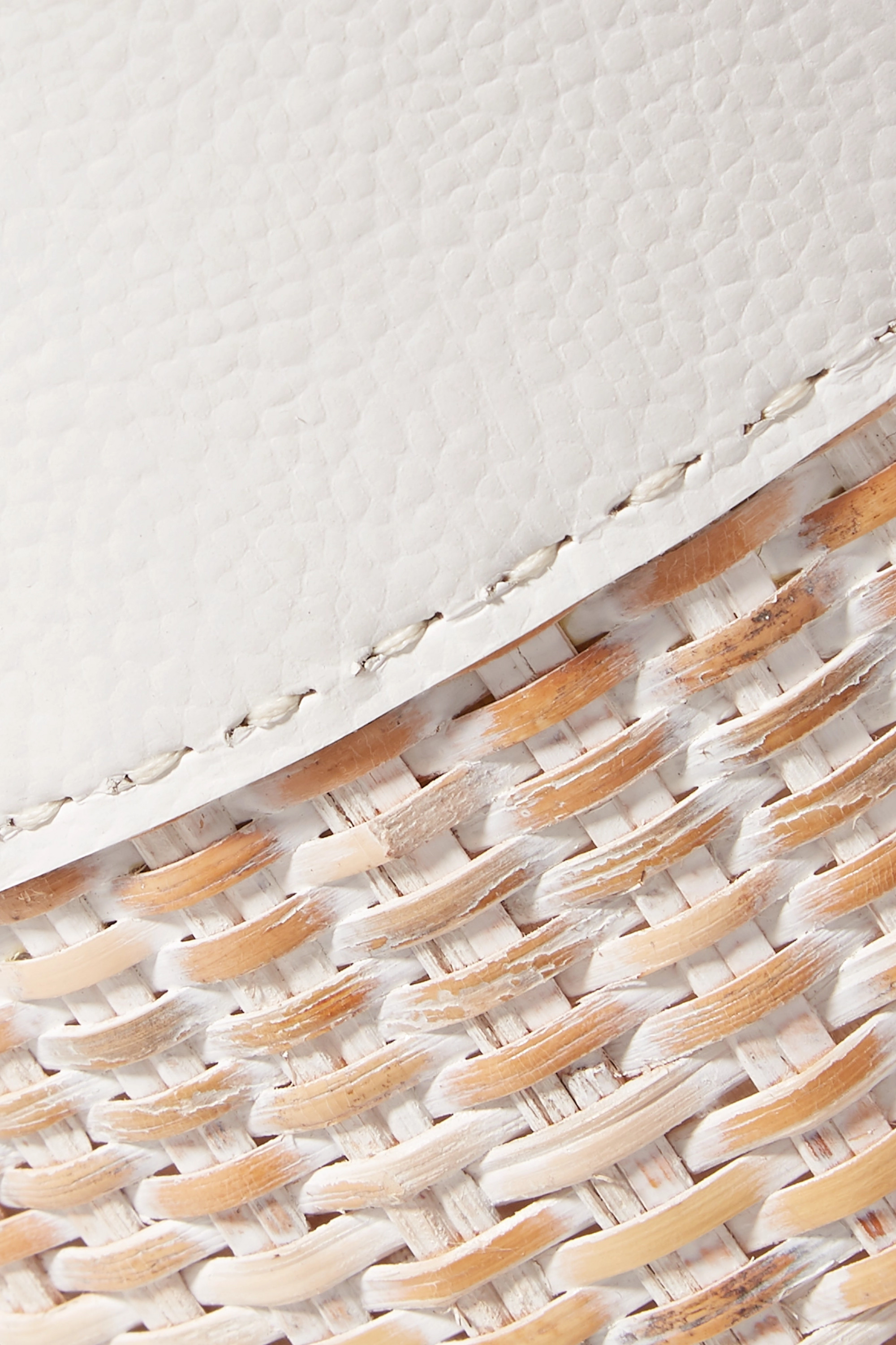 White Lucie Leather And Straw Tote | Kayu