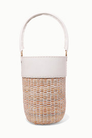 Lucie leather and straw tote