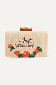 Just Married embroidered woven straw clutch