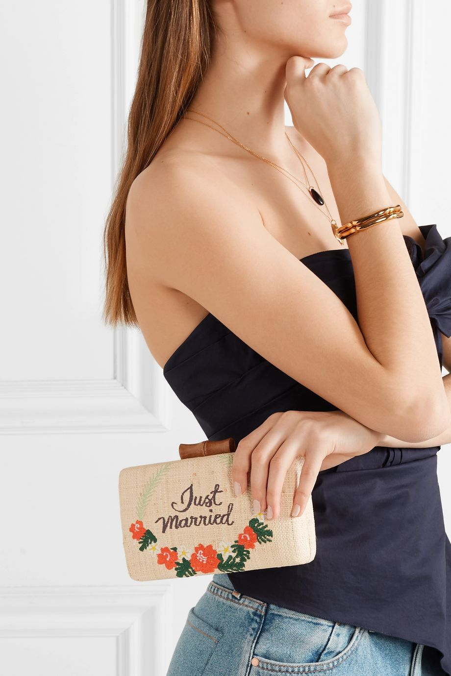 Kayu Just Married embroidered woven straw clutch