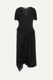 Ayaka ruffled ruched asymmetric crepe de chine dress