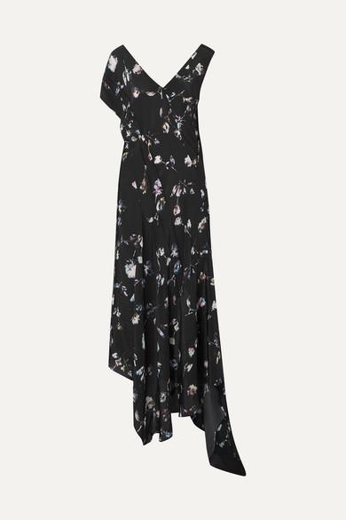 PREEN LINE Dana Asymmetric Floral-Print Crepe De Chine Midi Dress in Black