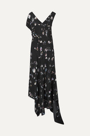 Dana asymmetric floral-print crepe de chine midi dress