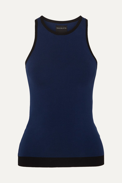 NAGNATA Technical Stretch-Organic Cotton Top in Navy