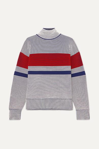 NAGNATA Striped Ribbed Organic Cotton Turtleneck Sweater in Gray