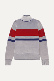 Striped ribbed organic cotton turtleneck sweater