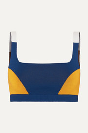 Color-block technical stretch-organic cotton sports bra