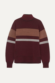 Striped ribbed-knit organic cotton turtleneck sweater