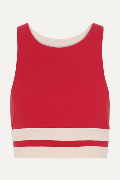 VAARA | Vaara - Naomi Striped Stretch Sports Bra - Red | Goxip