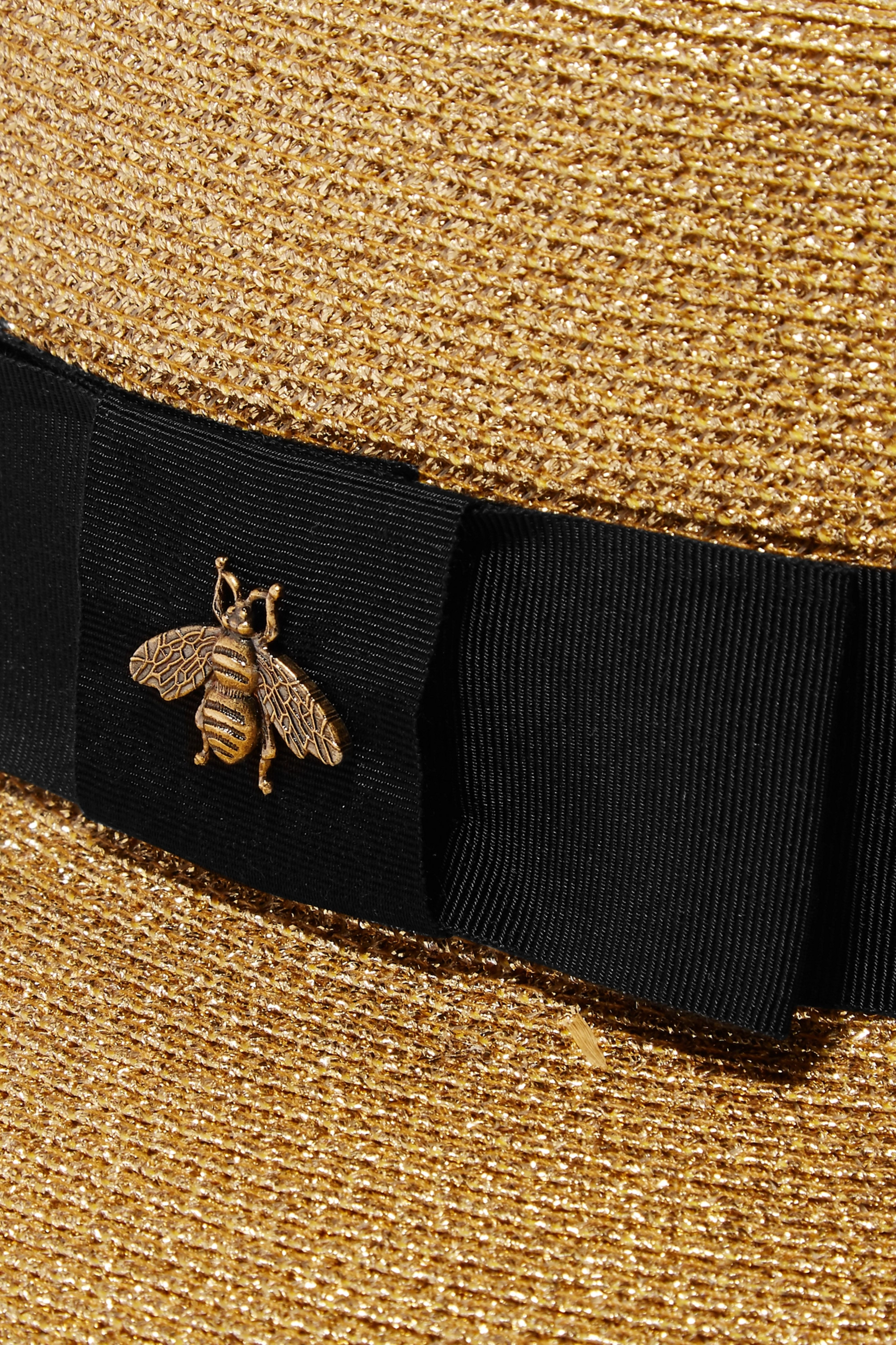 Gucci Grosgrain-trimmed glittered straw hat
