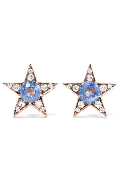 SELIM MOUZANNAR Istanbul 18-Karat Rose Gold, Sapphire And Diamond Earrings