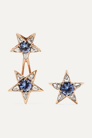 Selim Mouzannar Istanbul 18-karat rose gold, sapphire and diamond earrings
