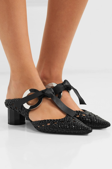 PROENZA SCHOULER Leathers Eyelet-embellished woven leather mules