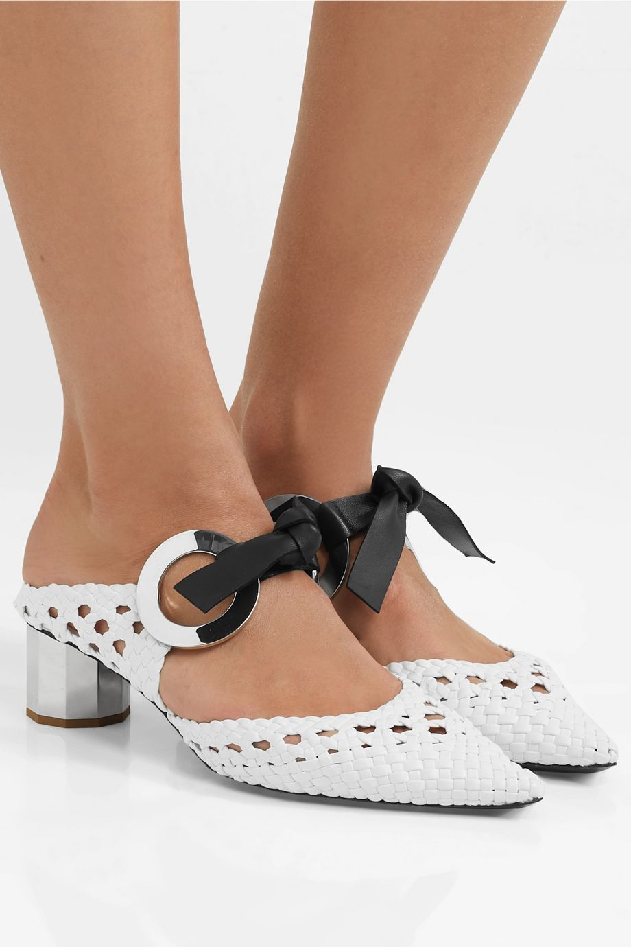 Proenza Schouler Eyelet-embellished woven leather mules