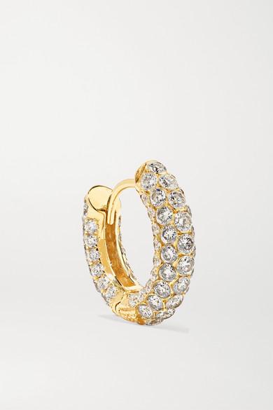 MARIA TASH 8Mm 18-Karat Gold Diamond Hoop Earring