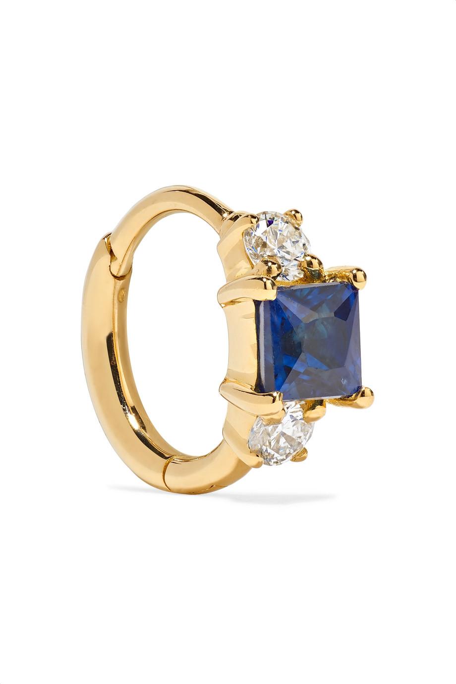 Maria Tash 6.5mm 18-karat gold, sapphire and diamond hoop earring