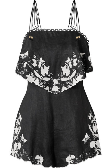 Juniper Embroidered Linen Playsuit in Black