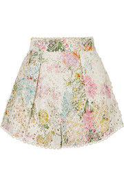 Heathers floral-print broderie anglaise cotton shorts