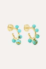 Ippolita Nova Teeny 18-karat gold turquoise hoop earrings