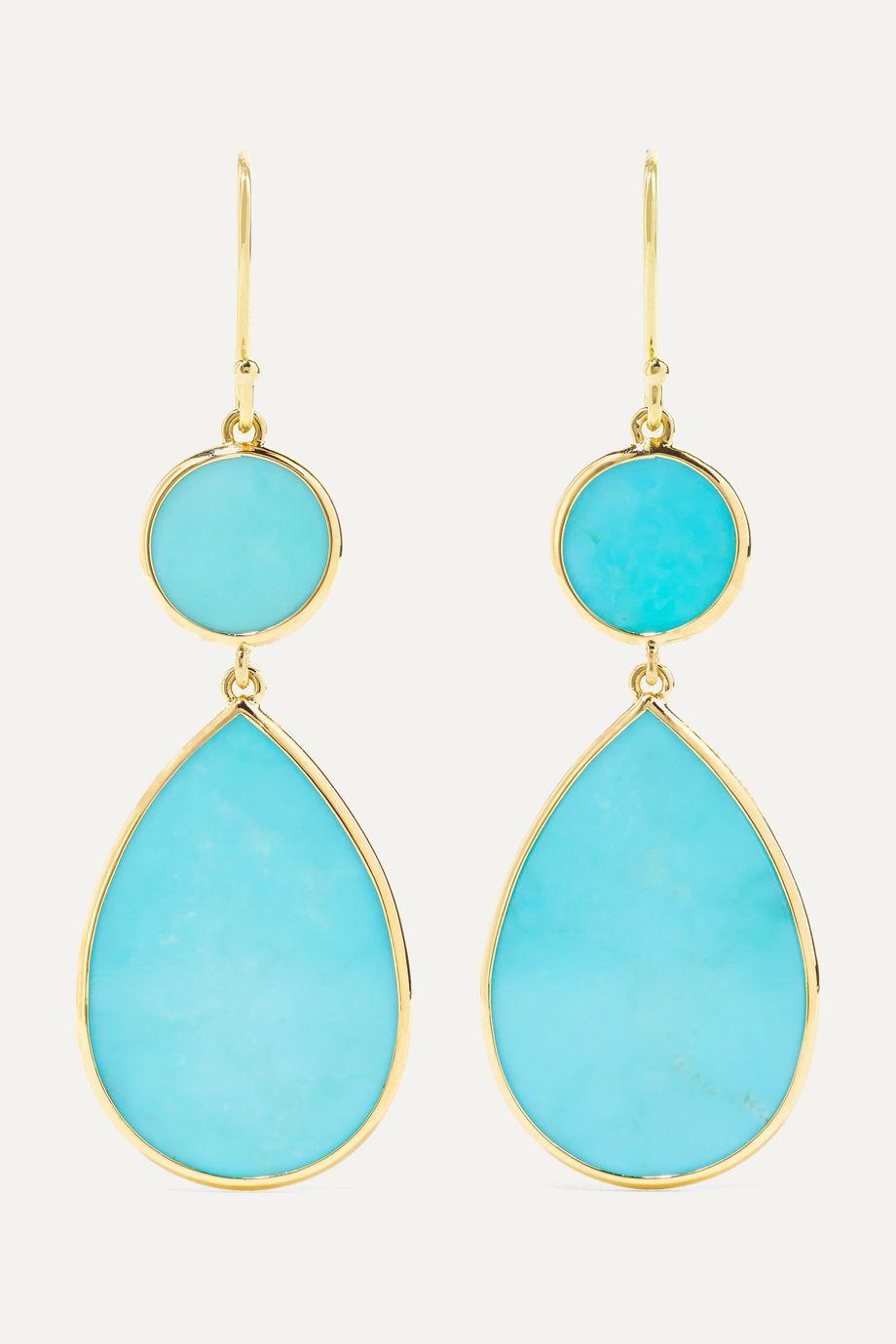 Ippolita Polished Rock Candy 18-karat gold turquoise earrings