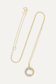 Lollipop mini 18-karat gold, quartz and diamond necklace