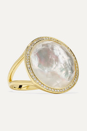 Lollipop 18-karat gold, mother-of-pearl and diamond ring