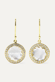 Lollipop mini 18-karat gold, quartz and diamond earrings