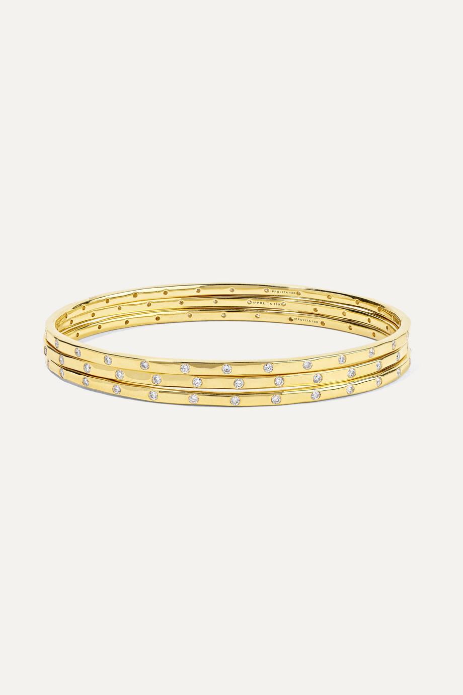 Ippolita Set de trois bracelets en or 18 carats et diamants Senso