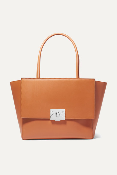 Bonnie Grosgrain-Trimmed Leather Tote