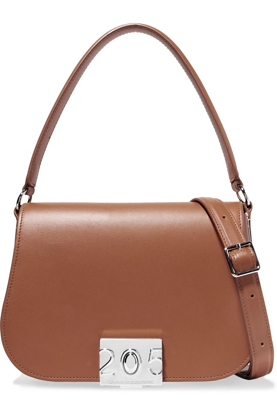 CALVIN KLEIN 205W39NYC Bonnie grosgrain-trimmed leather shoulder bag