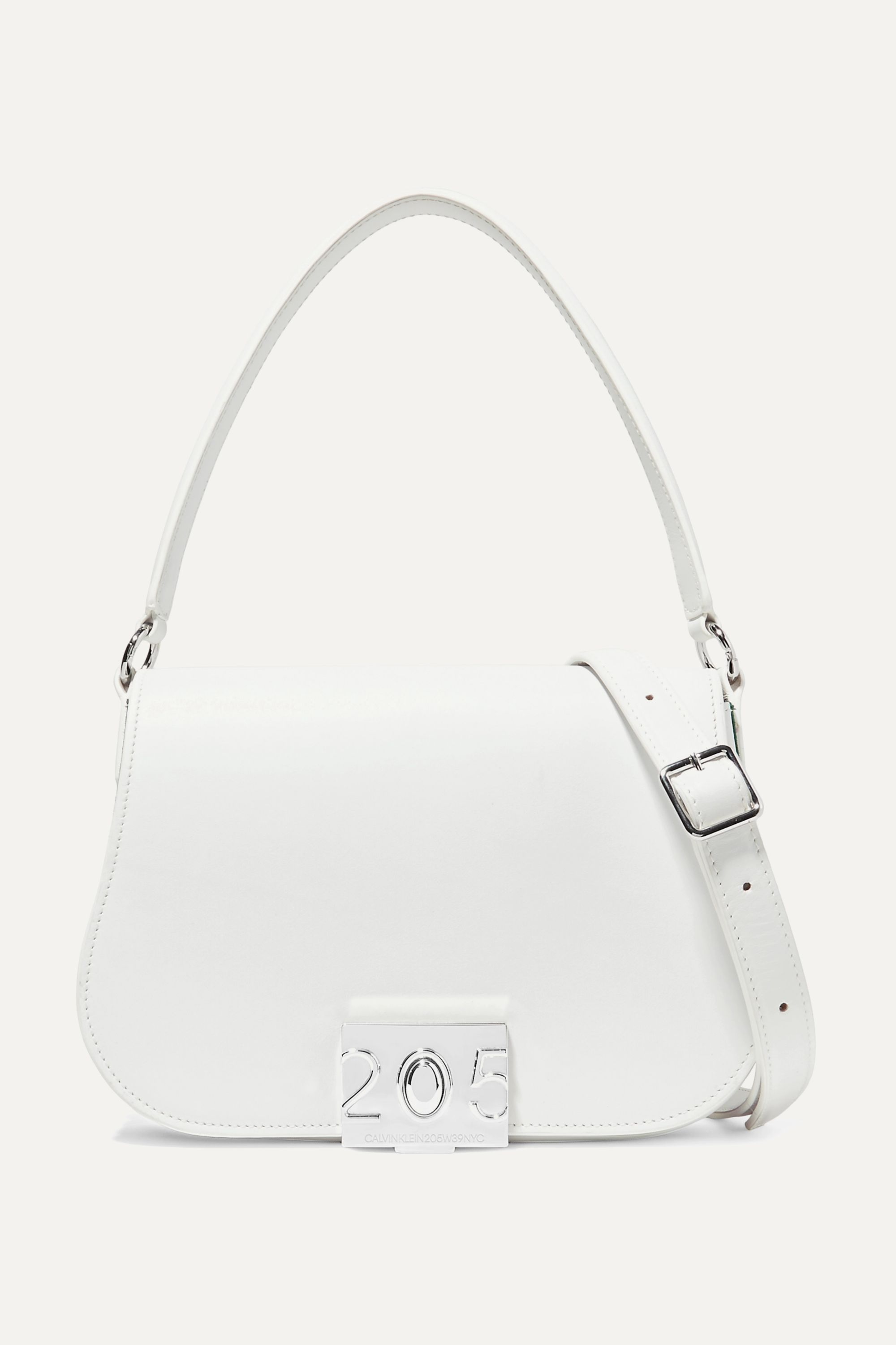CALVIN KLEIN 205W39NYC Bonnie grosgrain-trimmed leather shoulder bag