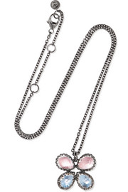 Sadie Butterfly rhodium-dipped quartz necklace