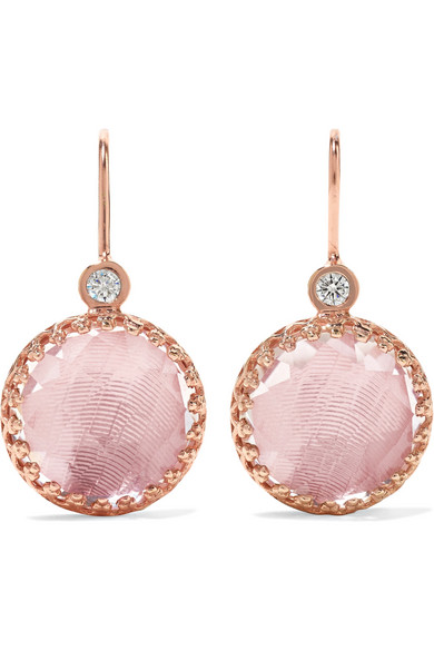 LARKSPUR & HAWK Olivia Button Small Rose Gold-Dipped, Quartz And Diamond Earrings