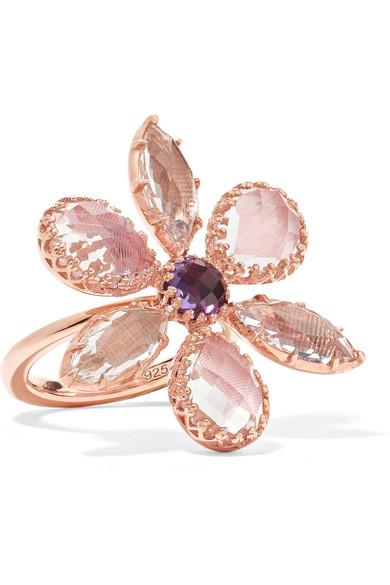 Sadie Flower Rose Gold-Dipped Quartz Ring