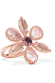 Larkspur & Hawk Sadie Flower rose gold-dipped quartz ring