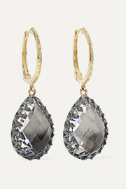 Larkspur & Hawk Lady Jane small 14-karat gold and rhodium-dipped quartz earrings