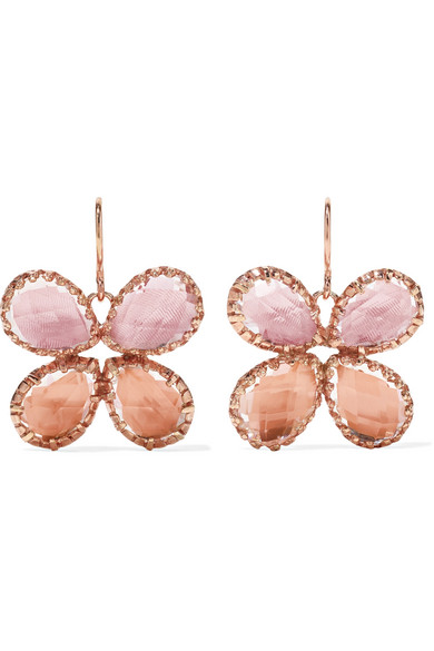 Sadie Butterfly Rose Gold Dipped Quartz Earrings by Larkspur & Hawk
