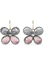 Larkspur & Hawk Sadie Butterfly rhodium-dipped quartz earrings